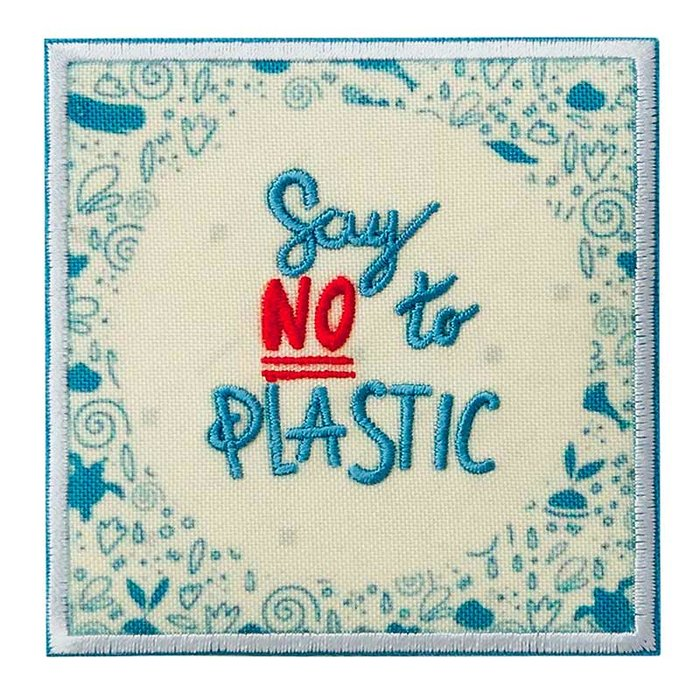 Recycl-Patch Say no to Plastic creme-blau-rot, 7,5 x 7,5 cm
